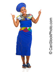 young african zulu woman giving thumbs up