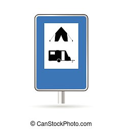 traffic sign for camping vector illustration