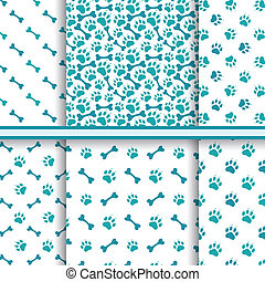 Seamless cat animal patterns of paw footprint