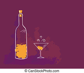 Wine - Artistic vector Illustration of Wine bottle