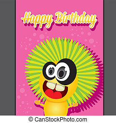 monster party happy birthday card design template vector...