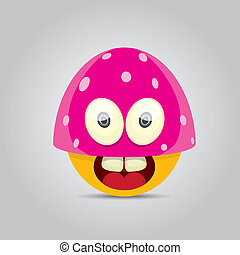 Vector Cartoon cute smiling monster - Cartoon cute friendly...