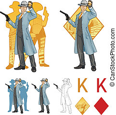 King of diamonds asian police chief and people silhouettes...