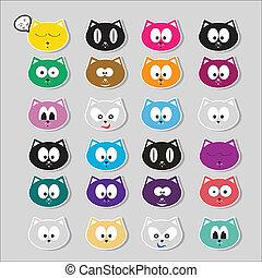 vector cartoon cute cats set - cartoon color cute cats...
