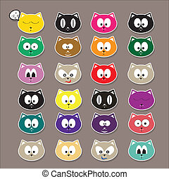 vector cartoon cute cats set - cartoon color cute cats...