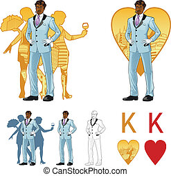 King of hearts attractive afroamerican man with corps de...