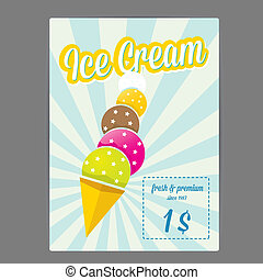 vector illustration of ice cream cafe menu - vector flat...