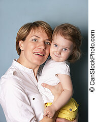 Mom and Daughter - Emotional portrait of a happy family,...