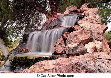 Cascade - Manmade waterfall or cascade with silky water