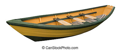 Dory rowboat, isolated - New England wooden Dory rowboat,...