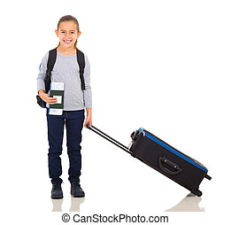 little girl with large suitcase - happy little girl with...