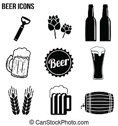 Beer icons set on white background, vector illustration