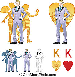 King of hearts attractive caucasian man with corps de ballet...