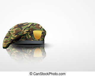 Light Background Military Camo Beret Special Forces - Light...