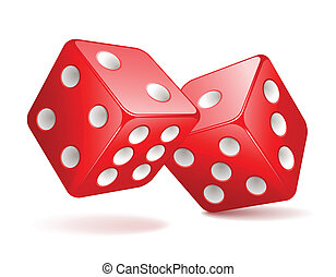 Dices - Vector illustration of red dices