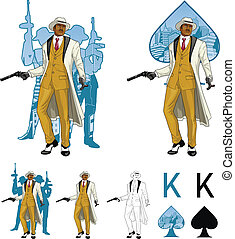 King of spades afroamerican mafioso godfather with crew...
