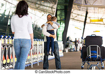 family reunion at airport - happy family reunion at airport