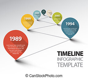 Infographic Timeline Template with pointers on a line -...