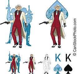 King of spades asian mafioso godfather with crew silhouettes Mafia card set