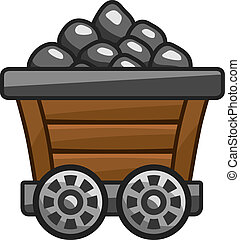 Mine cart with coal - Vinateg and wooden mine cart with coal