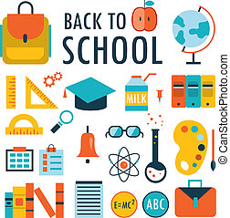 Back to school Flat design icons set isolated on white Part...