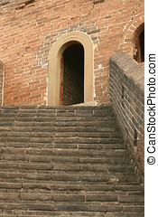 Steps leading to a door on the great wall of China - Great...