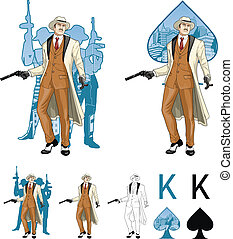 King of spades caucasian mafioso godfather with crew silhouettes Mafia card set