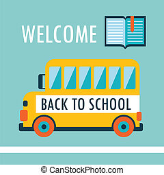 Welcome back to school background Flat design template with...