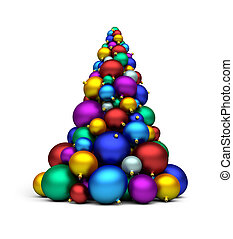 x-mas tree - a stack of colorful bomblets creating x-mas...