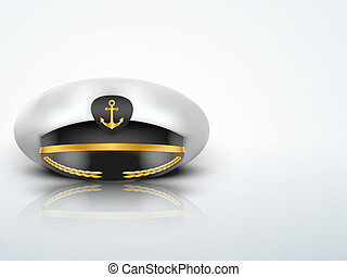 Light Background Captain peaked cap with gold anchor on...