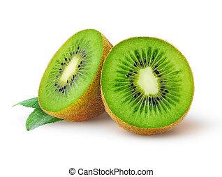 Kiwi fruit - Half of kiwi fruit isolated on a white