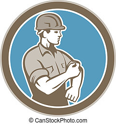 Construction Worker Rolling Up Sleeve Circle Retro -...