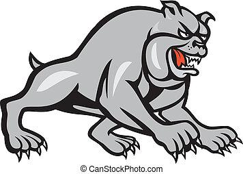 Bulldog Dog Mongrel Prowling Cartoon - Illustration of a...