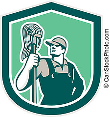 Janitor Cleaner Holding Mop Shield Retro - Illustration of a...
