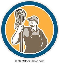 Janitor Cleaner Holding Mop Circle Retro - Illustration of a...