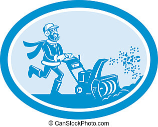Man With Snow Blower Oval Cartoon - Illustration of man with...