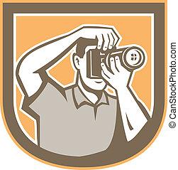 Photographer Camera Shield Retro