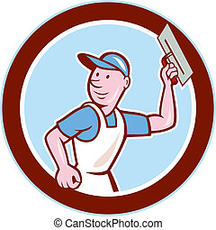 Plasterer Masonry Worker Circle Cartoon