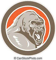 Angry Gorilla Head Circle Retro - Illustration of an angry...