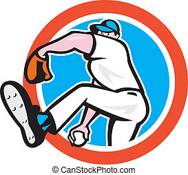 Baseball Pitcher Throwing Ball Circle Cartoon