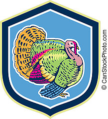 Wild Turkey Side View Shield Retro - Illustration of a wild...