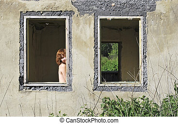old ruined house and girl