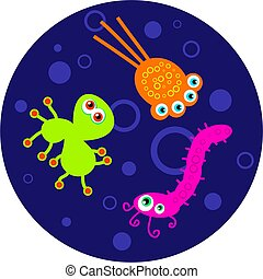 bacteria - A petri dish with colourful cartoon germs...