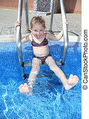 Little girl having fun at the pool