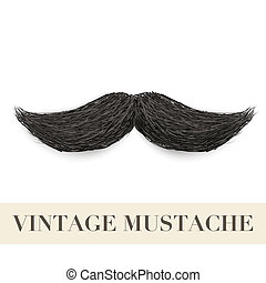 Realistic Black vintage curly mustache - Realistic Vintage...