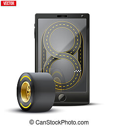 Smartphone with racing wheel and track on the screen Sports...