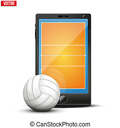 Smartphone with volleyball ball and field on the screen...