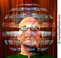 Sphere of images surround mans head