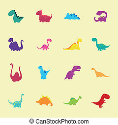 Dinosaurs - abstract set of cute dinosaurs on a light yellow...