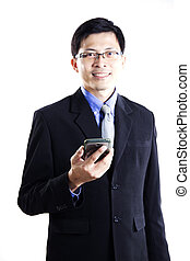 Business man with mobilephone